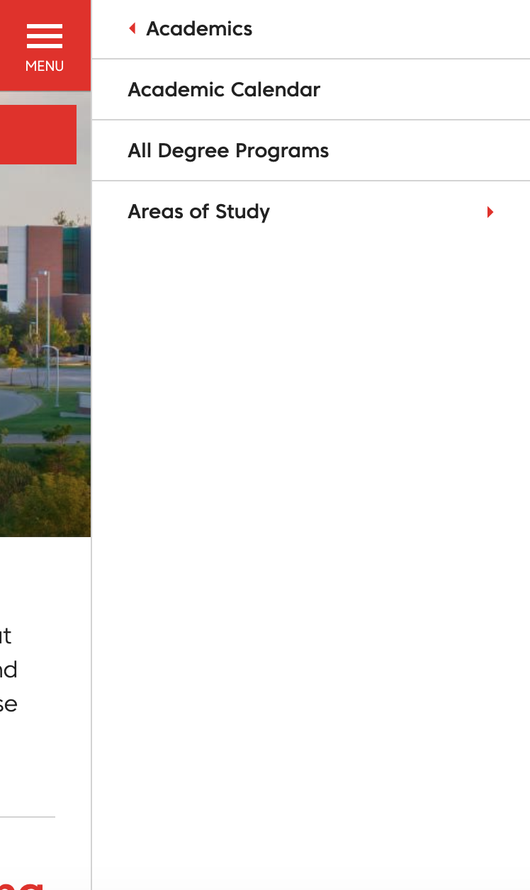 Open mobile menu showing second level of links for Davenport University