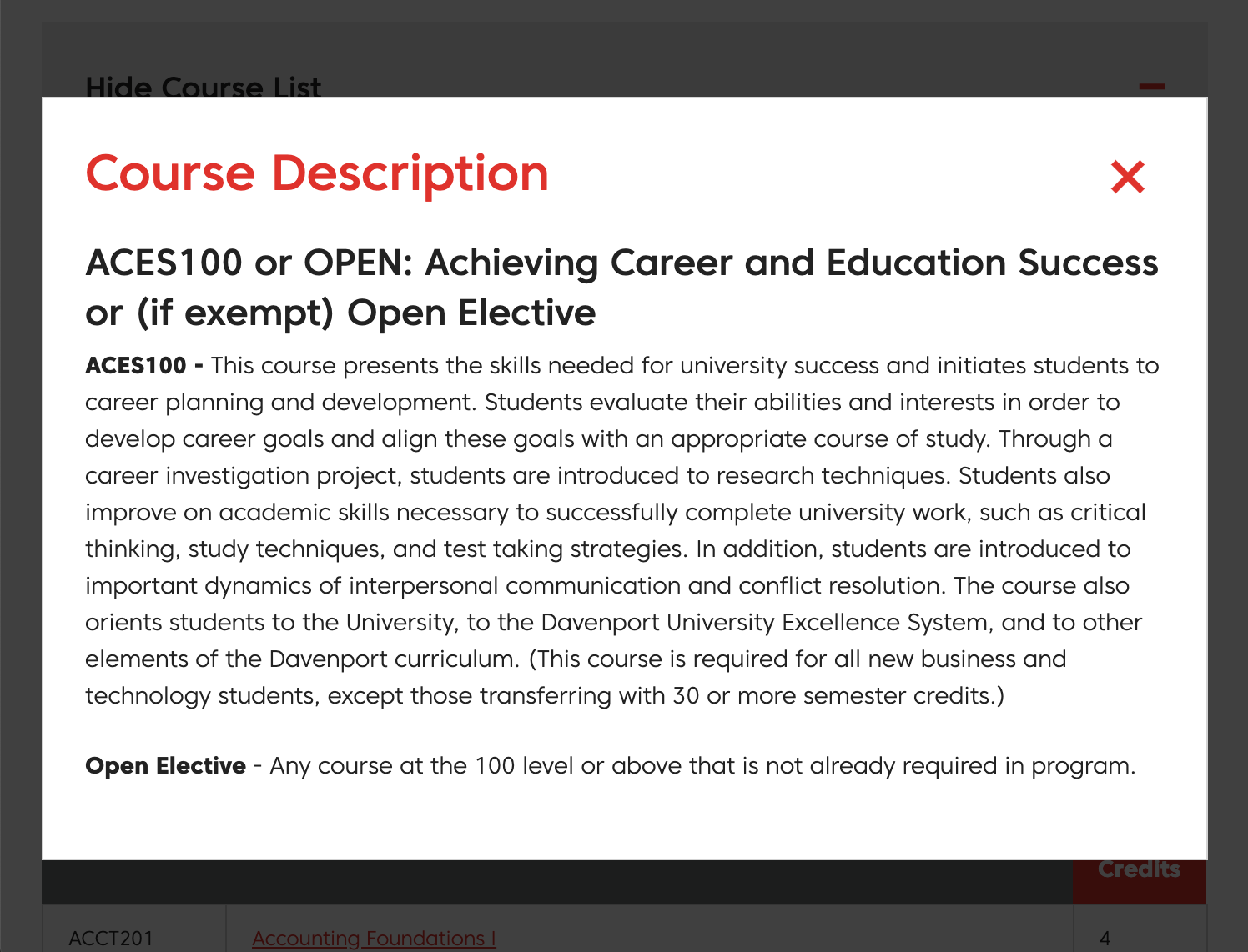 Course description popup window for Davenport University program list